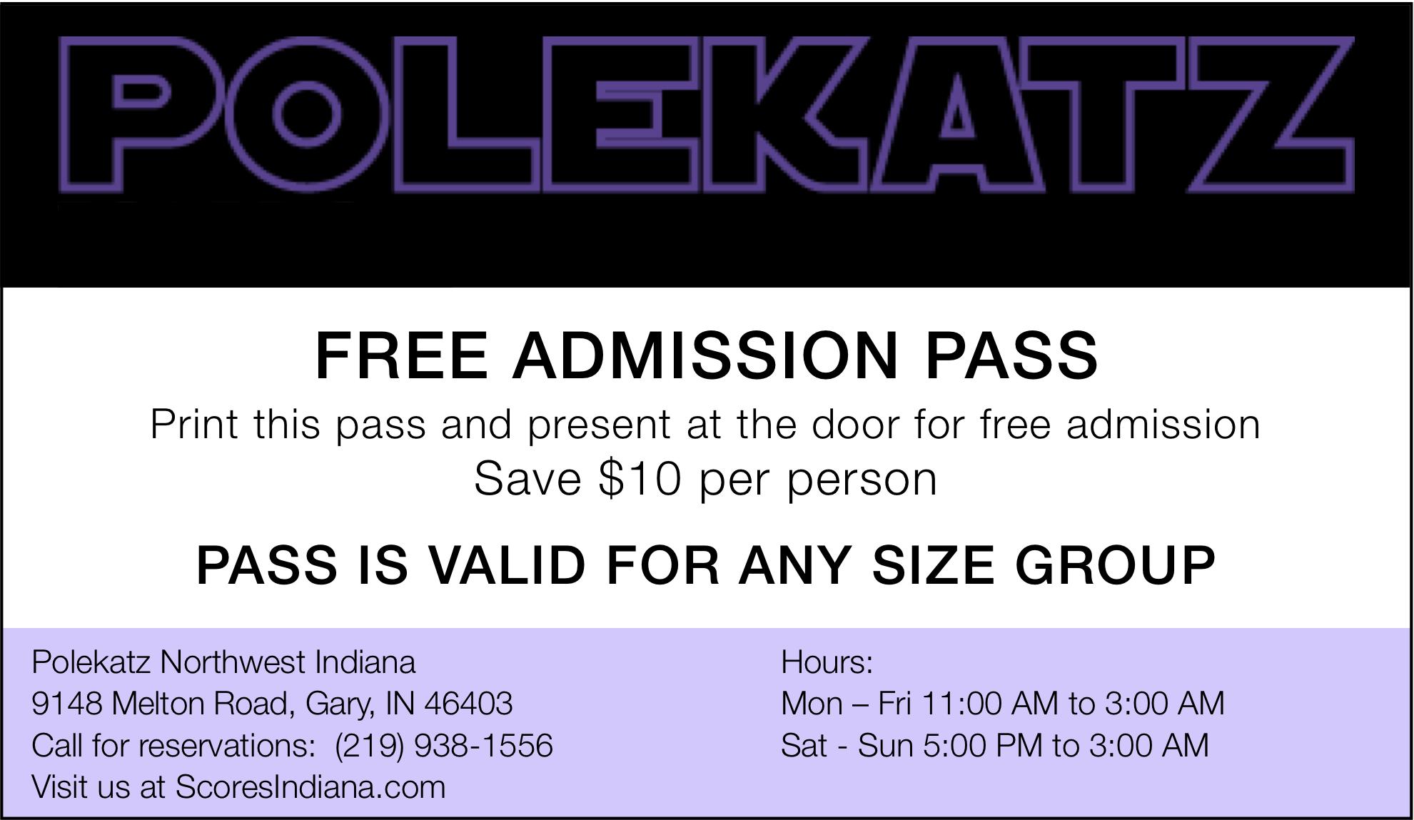 Free Pass to Polekatz Indiana